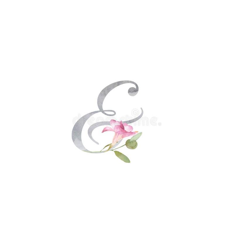 Signo '&' y símbolo de la acuarela adornados con fresia rosada y verdor libre illustration