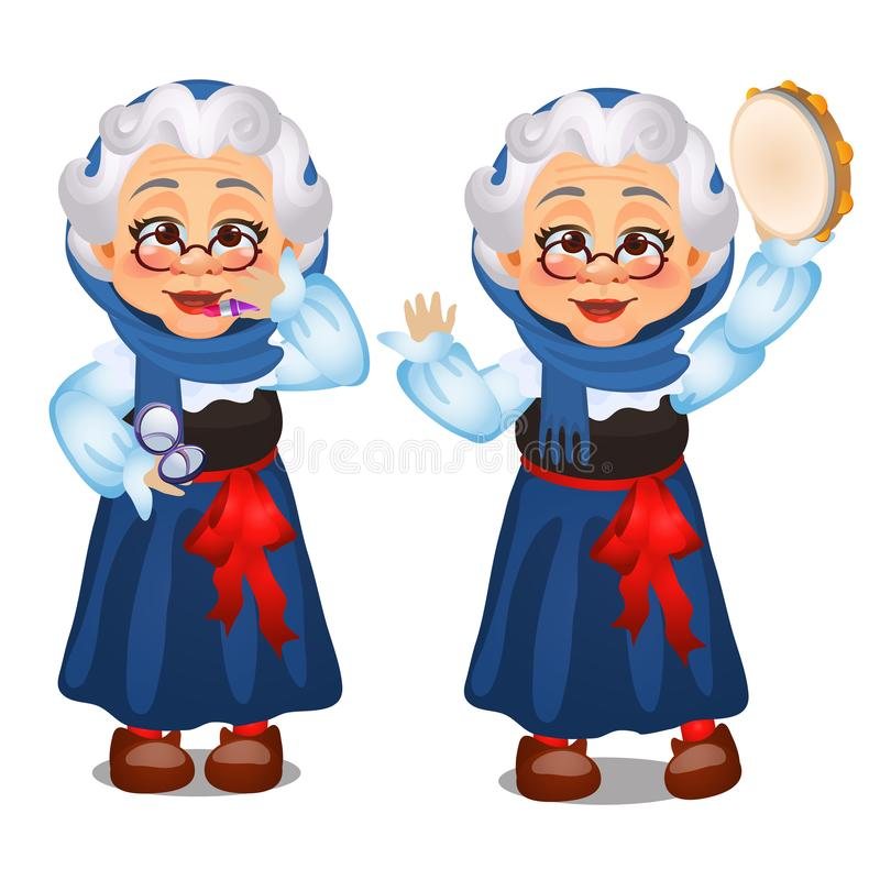 Signora anziana animata, rossetto, balli con un tamburino isolato su fondo bianco Secondo vento Schizzo di festivo illustrazione vettoriale