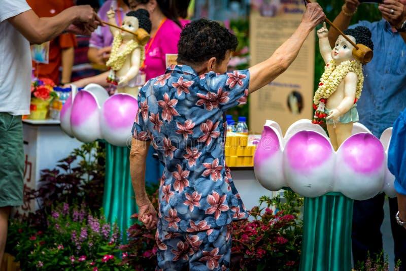 Signora anziana Bathing il Buddha durante il giorno di Vesak fotografia stock