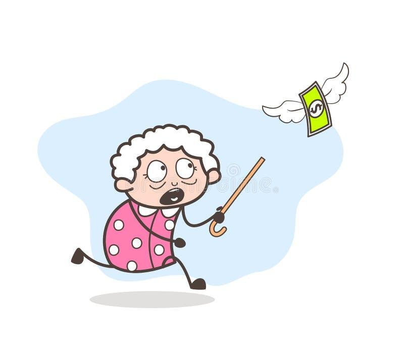 Signora anziana del fumetto che è in corsa per concetto di vettore dei soldi illustrazione di stock