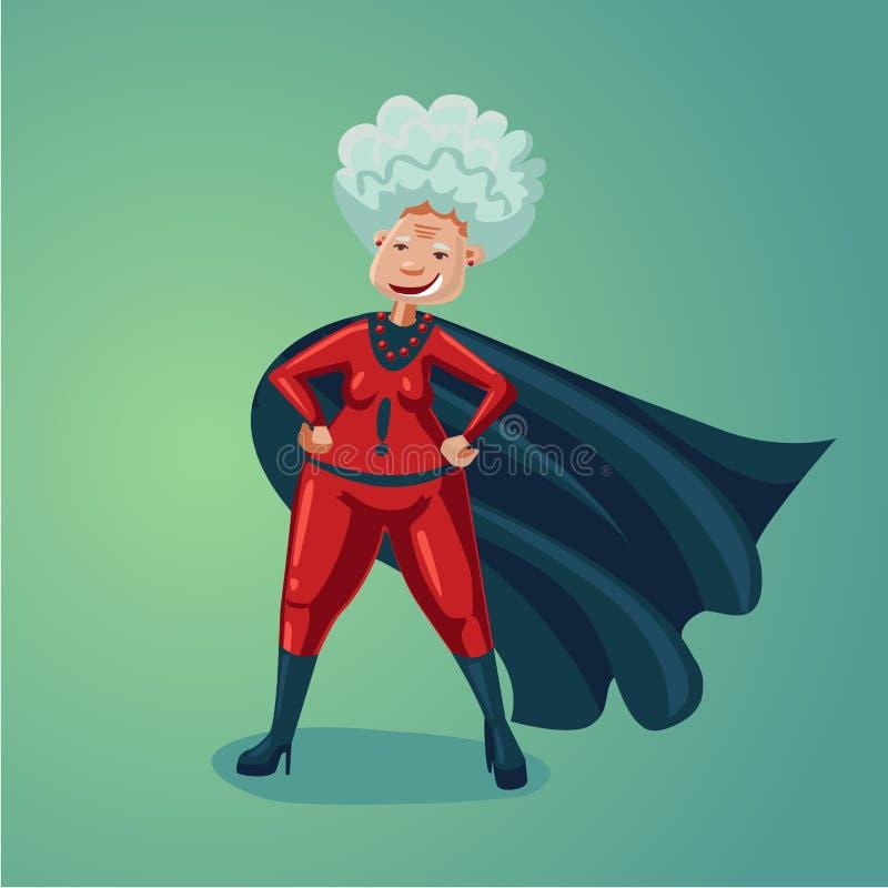 Signora anziana di meraviglia Donna adulta senior nel vestito dell'eroe eccellente Illustrazione sana del fumetto di umore di sti illustrazione vettoriale
