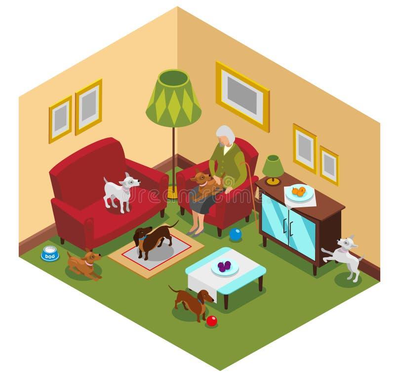Signora anziana Dogs Isometric Composition royalty illustrazione gratis