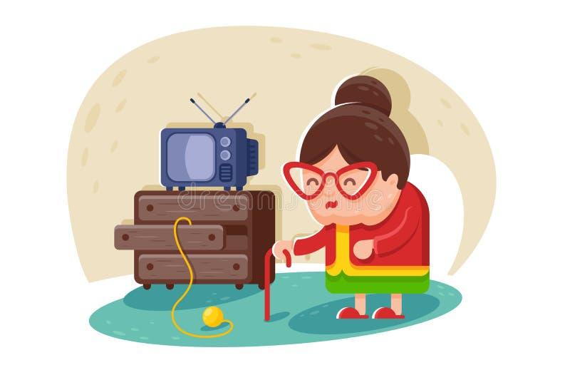 Signora anziana sveglia piana con i vetri e la canna vicino alla TV e guardaroba con le palle di filato illustrazione vettoriale
