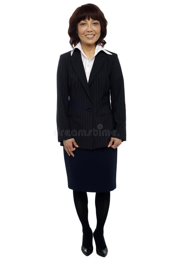 Signora asiatica con esperienza di affari. Leader della squadra fotografia stock