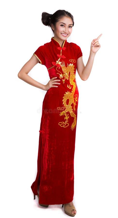 Signora asiatica con il vestito dal cinese immagine stock libera da diritti