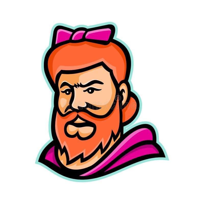 Signora barbuta Mascot illustrazione di stock