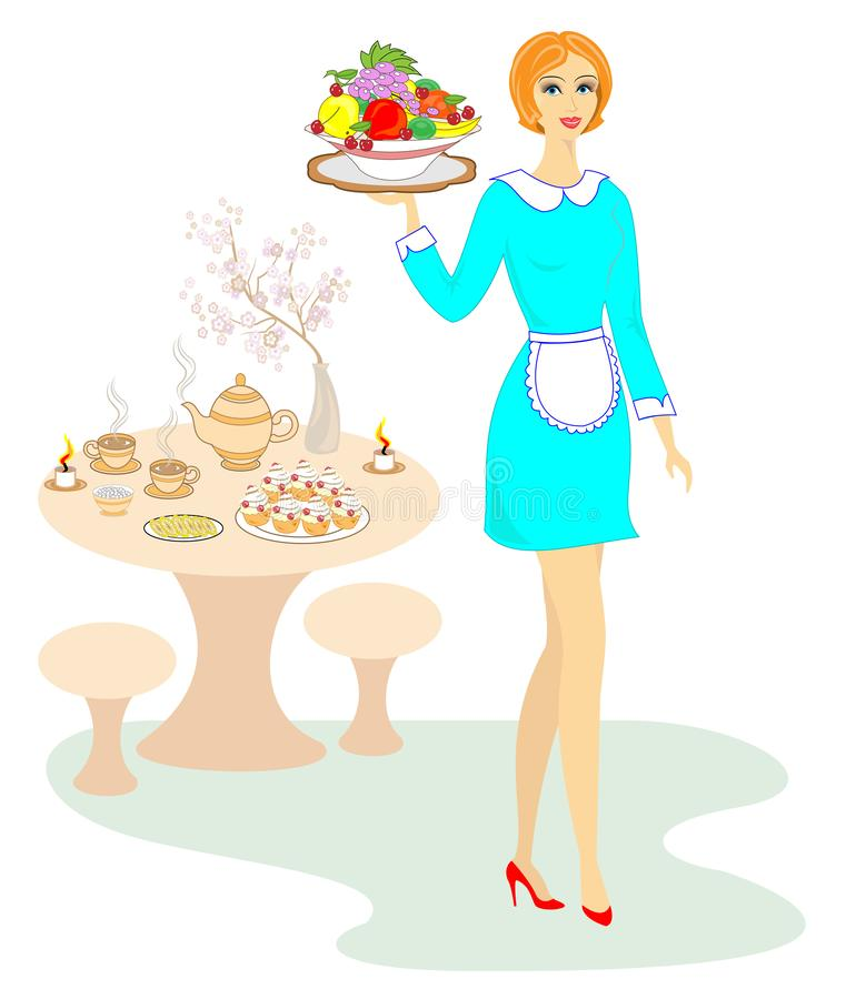Signora ben fatto adorabile La ragazza sta portando un vassoio di frutta Una donna ha una professione come cameriere Illustrazion royalty illustrazione gratis