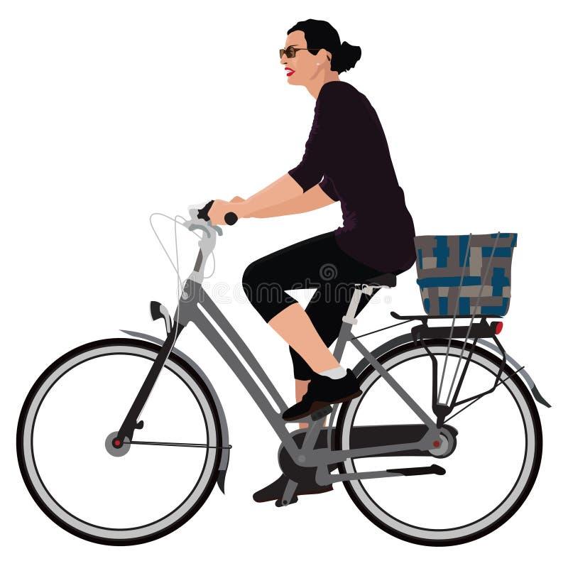 Signora Biking immagine stock libera da diritti
