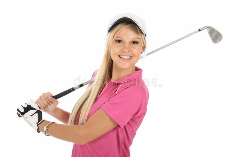 Signora bionda splendida del giocatore di golf fotografia stock libera da diritti
