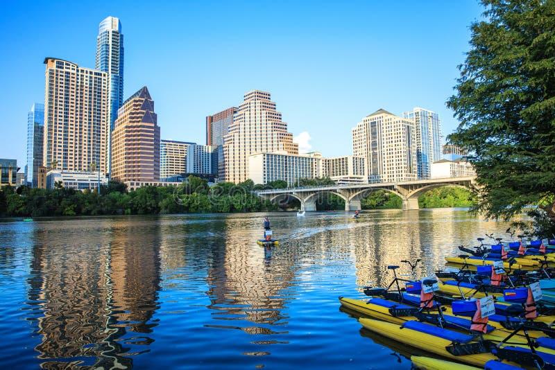 Signora Bird Lake Downtown, Austin, il Texas immagini stock libere da diritti
