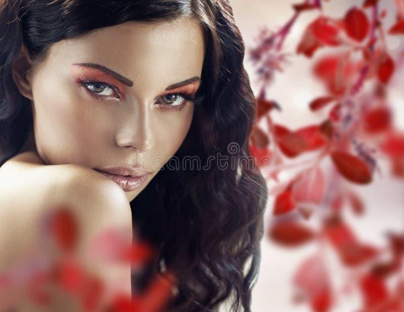 Signora castana sensuale sopra i precedenti dei petali immagini stock