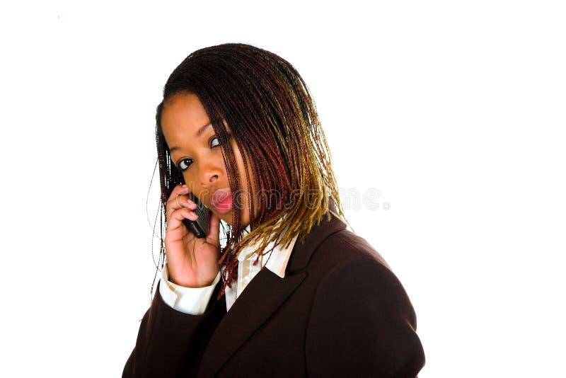 Signora Cell Talking di affari fotografia stock