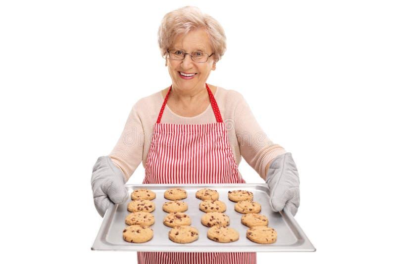 Signora che passa un vassoio con i biscotti fotografie stock libere da diritti