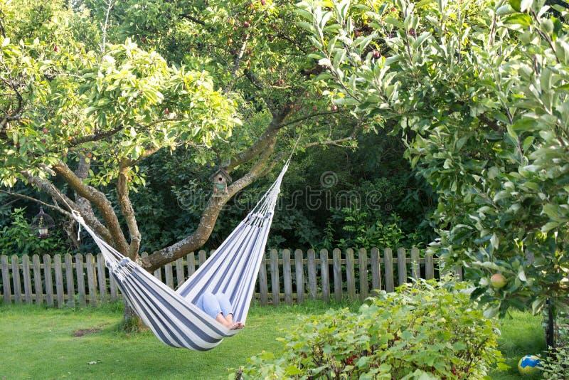 Signora che riposa in amaca in giardino verde fertile fotografia stock