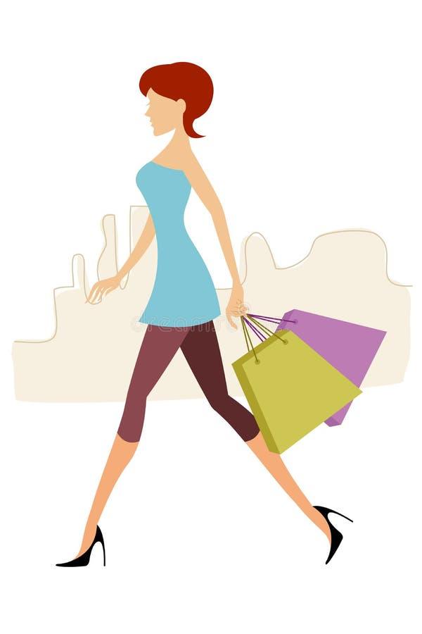 Signora con i sacchetti di acquisto illustrazione vettoriale