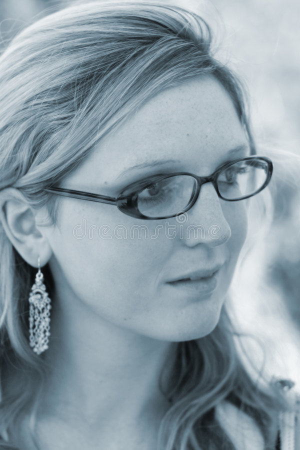 Signora Con I Vetri Fotografia Stock Libera da Diritti