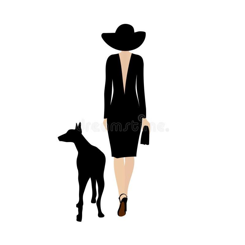 Signora con il cane nero La donna alla moda cammina con un doberman del cane nero Siluetta di camminata di vettore di signora del illustrazione di stock