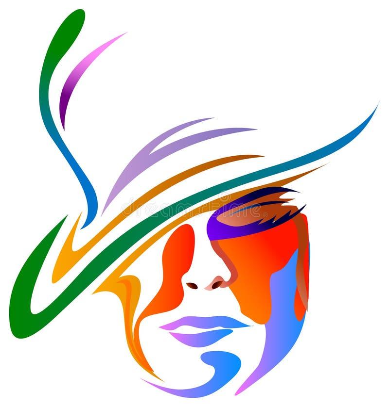 Signora con il cappello illustrazione vettoriale