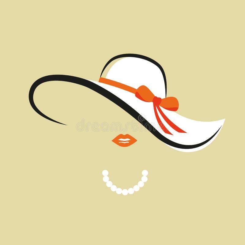 Signora con il cappello elegante con la collana arancio della perla e dell'arco illustrazione di stock