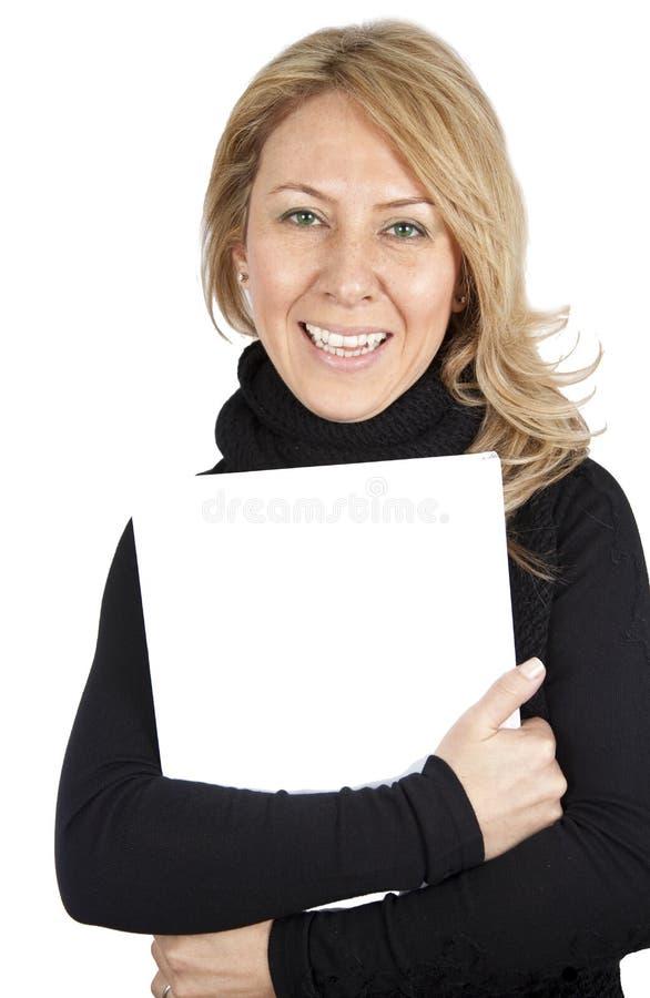 Signora con il libro bianco immagine stock libera da diritti
