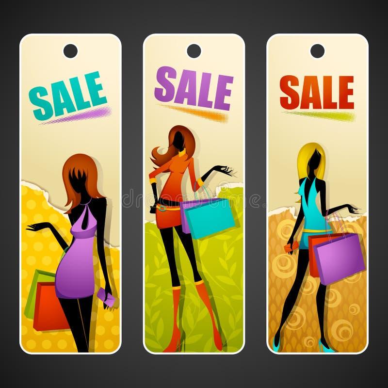 Signora con il sacchetto di acquisto sulla modifica di vendita illustrazione di stock