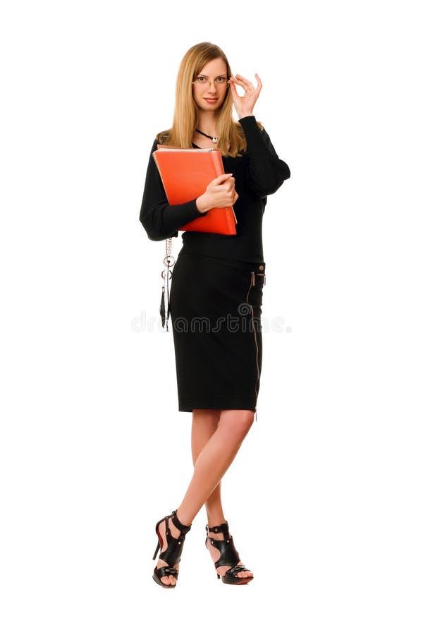 Signora con la cartella. Isolato su bianco fotografie stock libere da diritti
