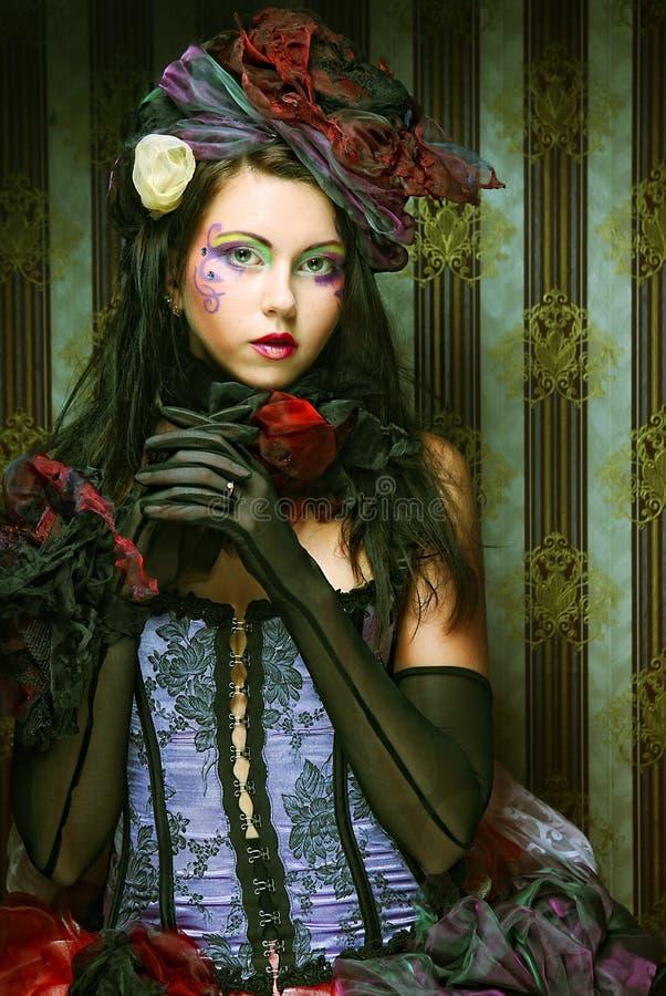 Signora con trucco artistico Stile della bambola fotografie stock libere da diritti