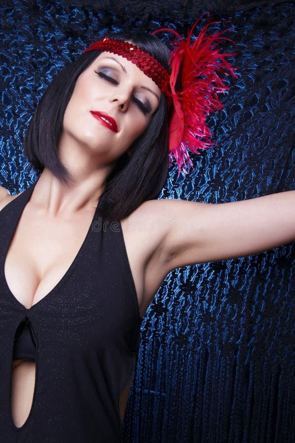 Signora del cabaret - costume della falda fotografia stock