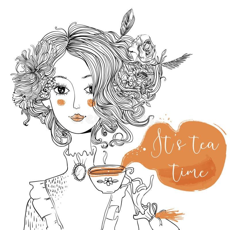 Signora del fumetto con la tazza di tè illustrazione vettoriale