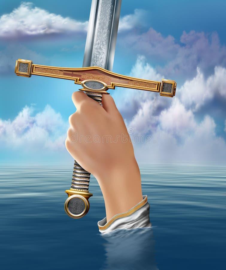 Signora del lago che alza Excalibur illustrazione vettoriale