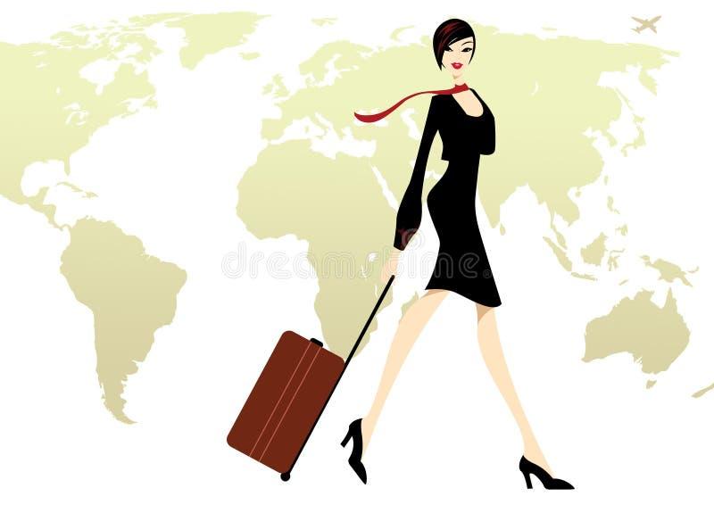Signora di affari nel nero con una corsa dei bagagli