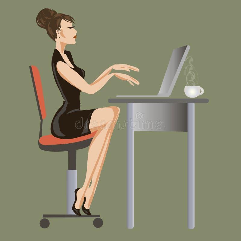 Signora di affari sta lavorando al computer all'ufficio, l'illustrazione piana della gente, donna con il computer portatile fotografia stock