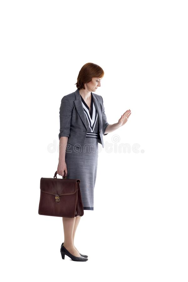 Signora di affari su un fondo bianco immagine stock libera da diritti