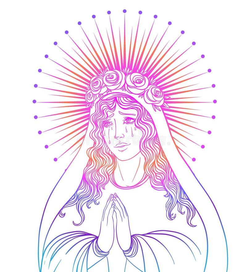 Signora di dispiacere Devozione al cuore immacolato di Virg benedetto illustrazione vettoriale