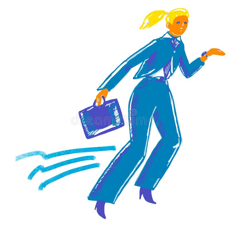 Signora di fretta astratta di affari in vestito blu con la cassa del computer portatile royalty illustrazione gratis