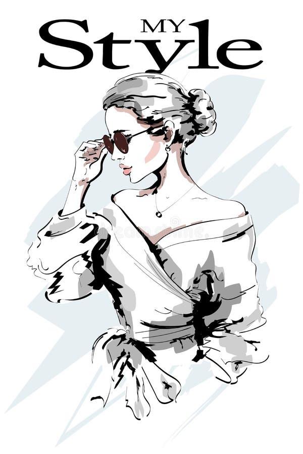 Signora di modo Bello ritratto della giovane donna Donna di modo in occhiali da sole Ragazza alla moda abbozzo royalty illustrazione gratis