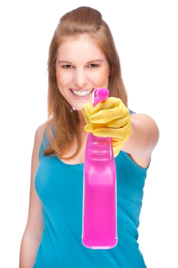 Signora di pulizia fotografie stock libere da diritti