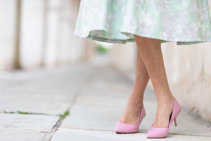 Signora elegante che indossa le scarpe rosa alla moda della corte fotografia stock
