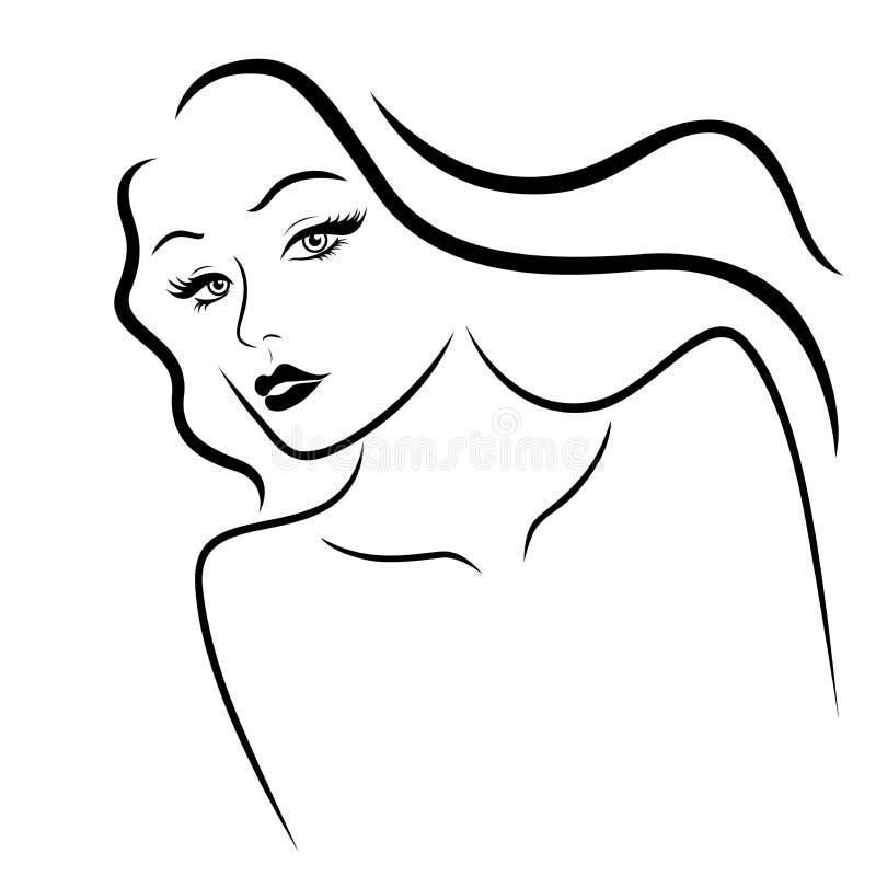 Signora elegante con il fronte sensuale royalty illustrazione gratis