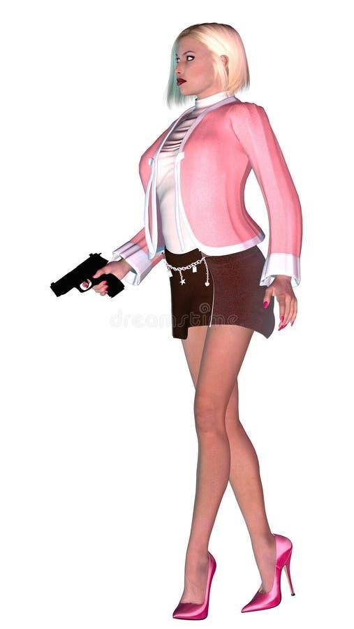 Signora elegante con il vestito e la pistola rosa, illustrazione 3d illustrazione vettoriale