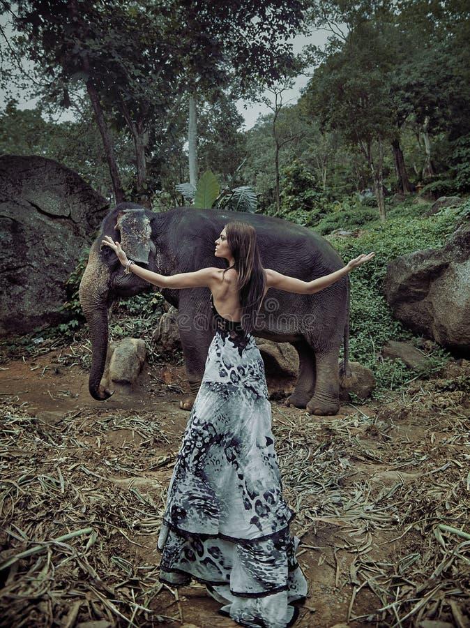 Signora esile e castana con il piccolo elefante fotografia stock libera da diritti