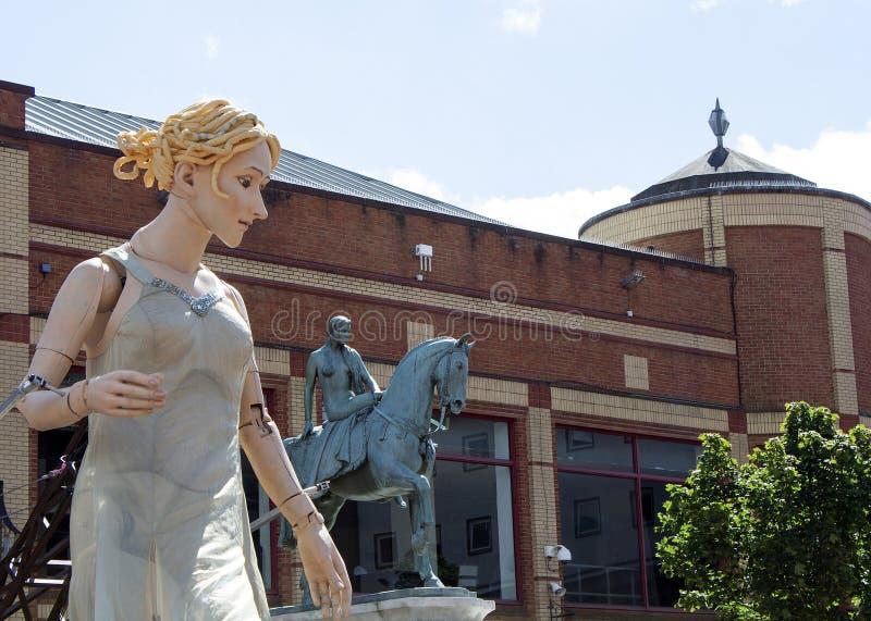 Signora Godiva Puppet a Coventry 2014 immagini stock libere da diritti