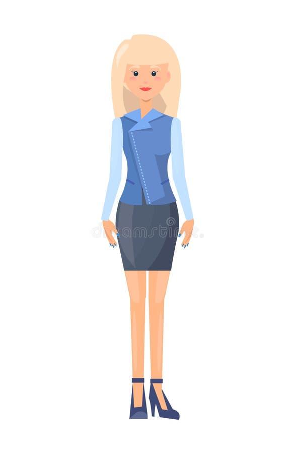 Signora graziosa in vestito ufficiale, modello dell'abbigliamento illustrazione di stock