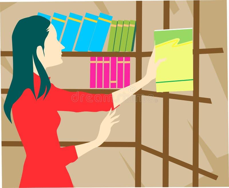 Signora in libreria illustrazione vettoriale