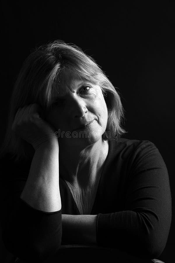 Signora maggiore Depressed fotografie stock libere da diritti