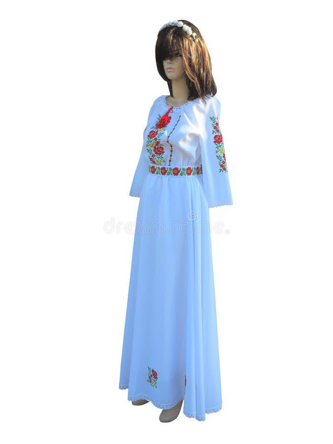 Signora Mannequin in balkanic tradizionale nazionale, moldavo, ROM fotografie stock libere da diritti
