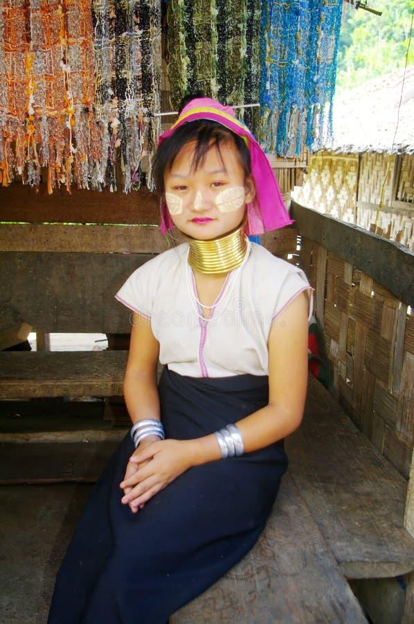 Signora nel lahwi etnico di Karen immagine stock libera da diritti