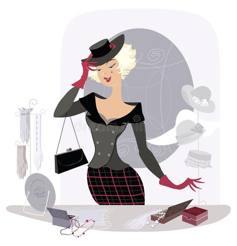 Signora nel negozio acessory dell'annata illustrazione vettoriale