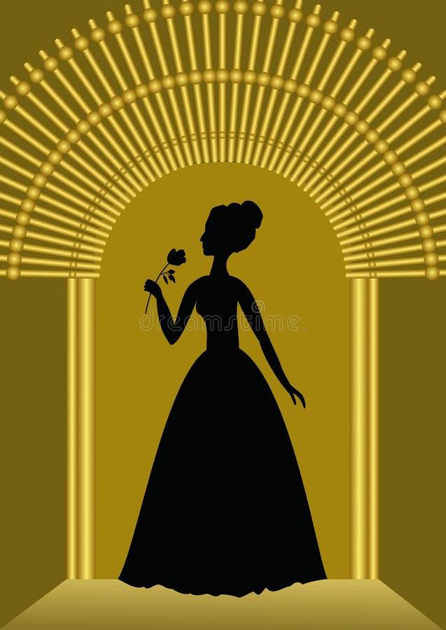 Signora nera con la siluetta del fiore in cancello dorato, modello lussuoso per l'invito della palla, annuncio nello stile d'anna royalty illustrazione gratis