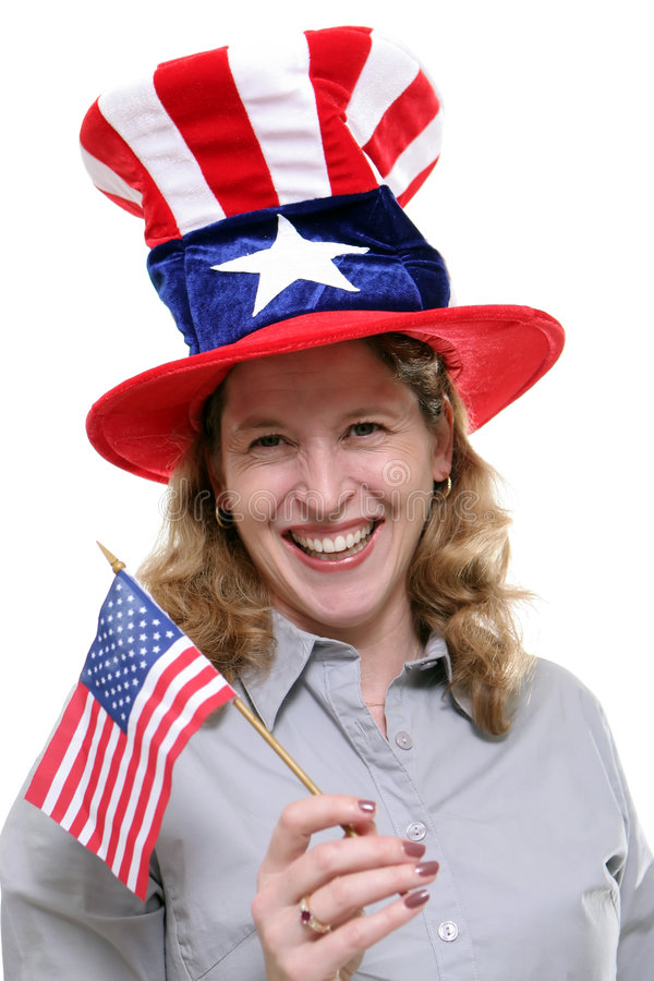 Signora patriottica Against White Background immagini stock